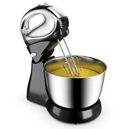 200W Stand Mixer Hand Mixer 5-Speed w/Dough Hooks & Beaters