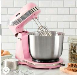 250W 3 Qt 6 Speed Stand Mixer in Retro Pink. Stainless Steel