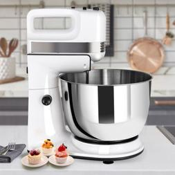 Home Kitchen 5-Speed Stand Mixer w/Dough Hooks Beaters Stain