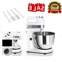 250W Electric Stand Mixer w/ Dough Hooks Beaters Stainless S