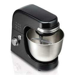 4 Qt. 7-Speed Black Stand Mixer with Dough Hook, Whisk and F