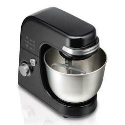 4 Qt Black Stand Mixer 7Speed With Dough Hook, Whisk And Fla