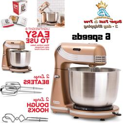 6 Speed Electric Stand Mixer With 3 Quart Stainless Steel Mi