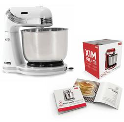 6 Speed White Electric Stand Mixer with Stainless Steel Mixi