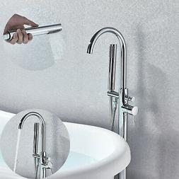 Chrome Floor Standing Bathtub Faucet Shower Tub Mixer W/ Han
