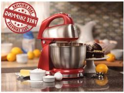 Classic Hand Stand Mixer Red Hamilton Beach 6 Speed Dough Br