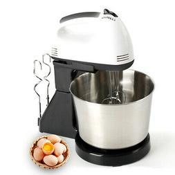 Electric Hand Mixer 7 Speed Steel Bowl Egg Cake Dough Mixer