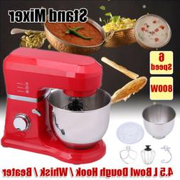 Electric Stand Mixer 6 Speeds w/ 4.5L Mixing Bowl Whisk Doug