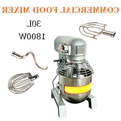 110V 1800W 30Qt 2.4HP Dough Food Mixer Pizza