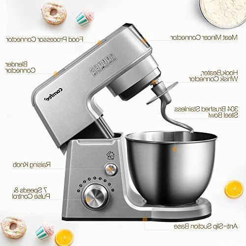 Comfee 7-in-1 Multi Function Tilt-Head Stand SUS Mixing Bowl, Whisk, Beater, Splash Guard.4 Outlets, 7 15 Minutes Timer Mixer