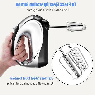200W 5-Speed Hand-free Mixer Hooks & Steel Bowl