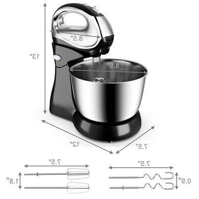 200W 5-Speed Stand Mixer Dough & Stainless Steel Bowl