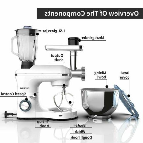 3 in 1 Stand Mixer w/7QT 6 850W Meat Grinder White