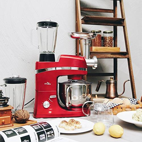 Litchi 5.3 Mixer, Stand Mixer Meat Grinder, Pasta Dies, Dough Hook, Mixing Flat Beater, Whisk Red