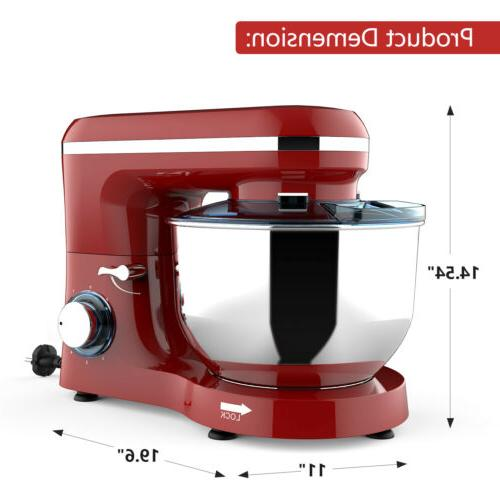 Electric Stand Mixer Speed 660W 7QT Kitchen Food Mixing Machine Red