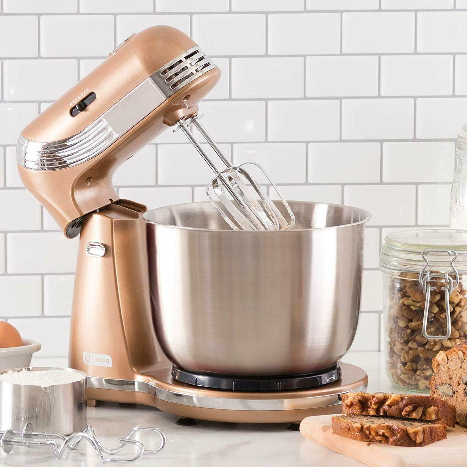 6 Electric Mixer With Stainless Bowl Black New