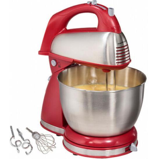 Hamilton 6 Speed Stand Mixer Baking Bowl Kitchen Chrome Red