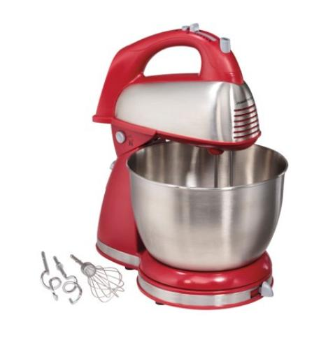 Hamilton Speed Stand Mixer Baking Bowl Beaters Chrome Red