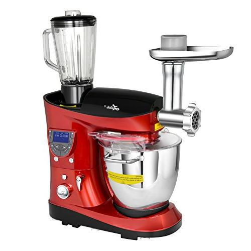 Litchi Stand Mixer with Meat Grinder, Blender, LCD Control Panel, Steel Cooking