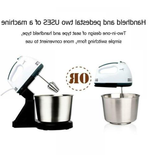 7Speed Electric Stand Hand Mixer Bowl Dough Whisk 2L