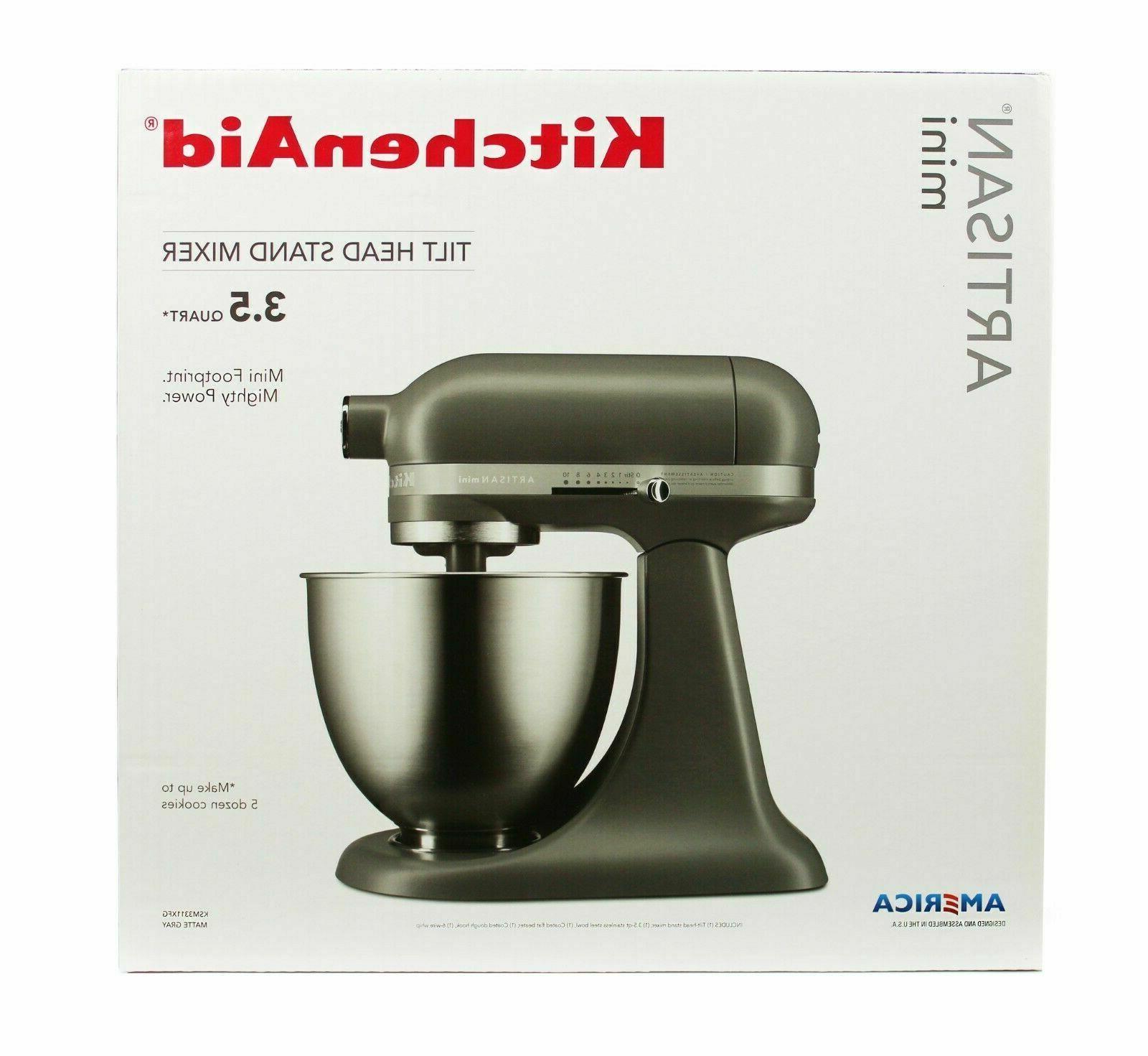 KitchenAid Artisan Mini Tilt Head Stand Matte Gray- KSM3311XFG