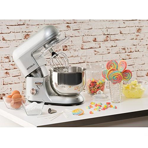 KLARSTEIN Bella Argentea Tilt-Head Mixer • Dough Flat Wire W • Stainless Steel Planetary Mixing Speeds • Silver
