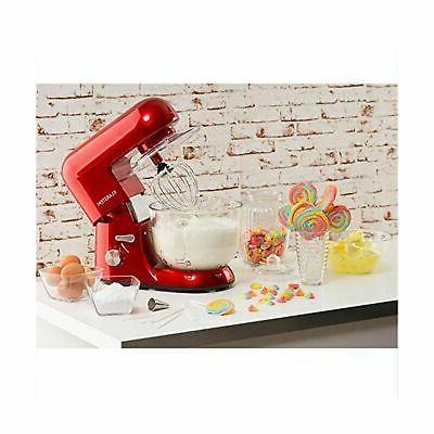 KLARSTEIN Bella Rossa Tilt-Head Stand Mixer, Dough Hook, Flat