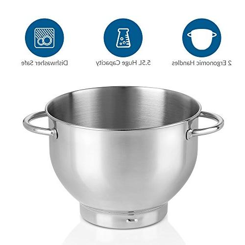 ALBOHES mixer Mixer Mixer with Dough Speeds Stainless Bowl Food Mixer