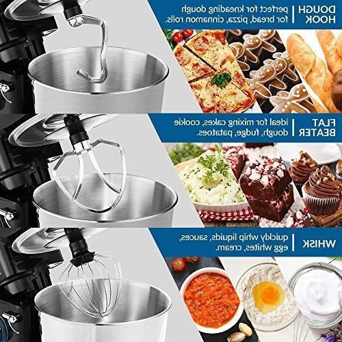 ALBOHES mixer 6 Dough Mixer Machine Speeds Dough Mixer Stainless Bowl Tilt-head Food