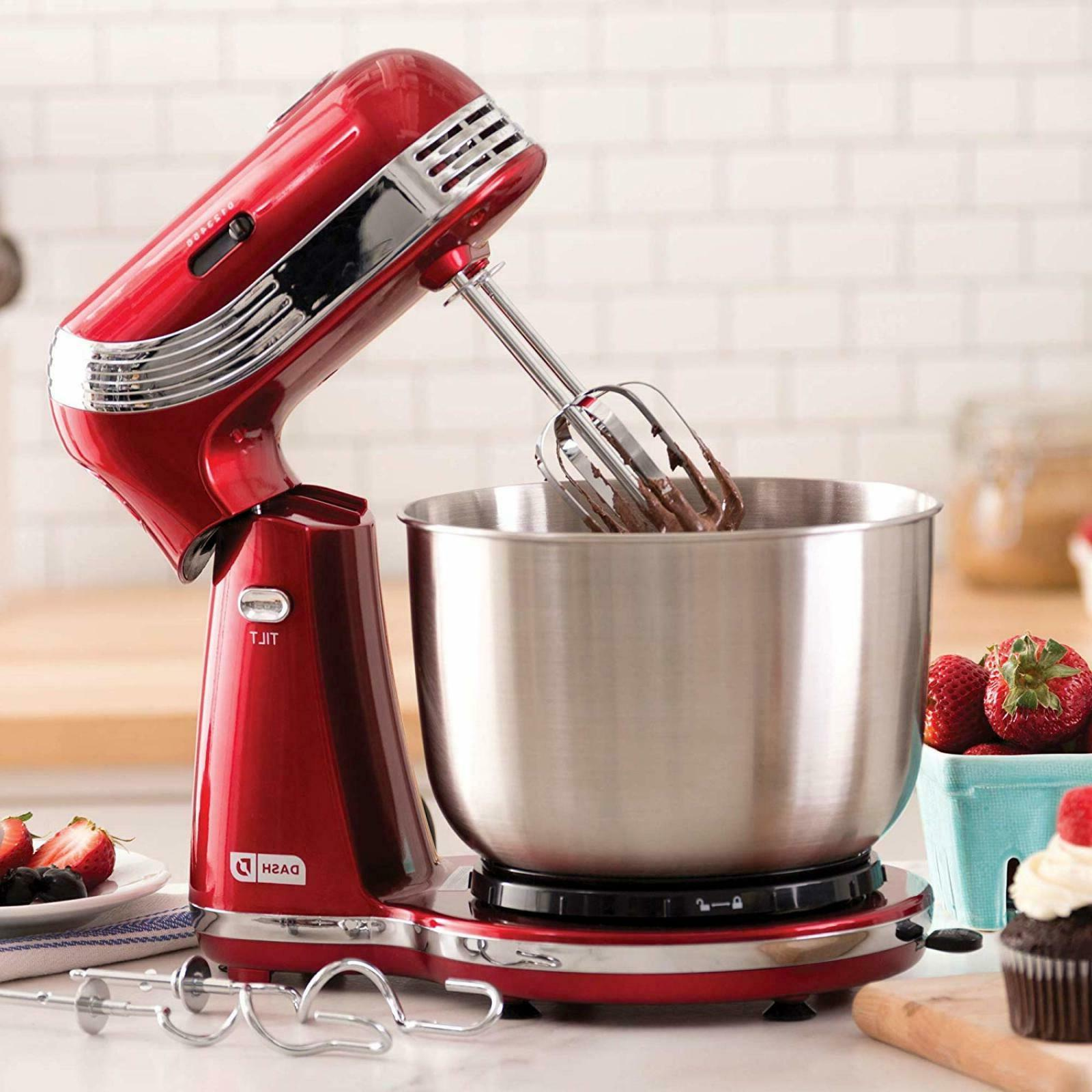 DASH ELECTRIC 3 QT STAND MIXER 6 SPEED KITCHEN BAKING DOUGH