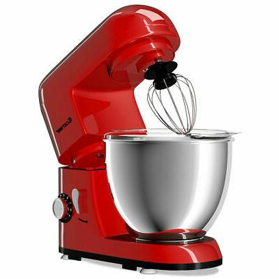Electric Food Stand Mixer 6 Speed 4.3Qt 550W Tilt-Head Stainless Bowl New