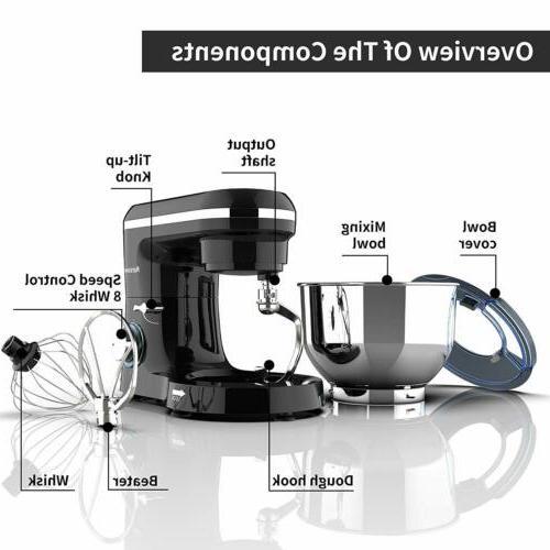 Electric Food Mixer 6 6QT Tilt-Head Stainless Black
