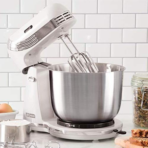 Dash Stand : 6 Stand Mixer with 3 qt Steel Mixing Bowl, Hooks Mixer Beaters for Dressings, Frosting, & More