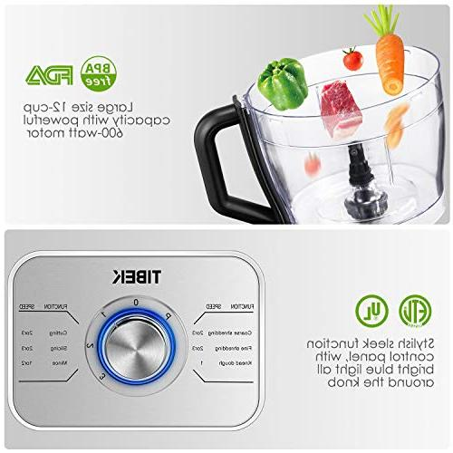 Food 12-Cup, Food Processor Functions with Blade, Dough Blade, Shredder, Slicing Attachments, Speed 600W Powerful Processor,