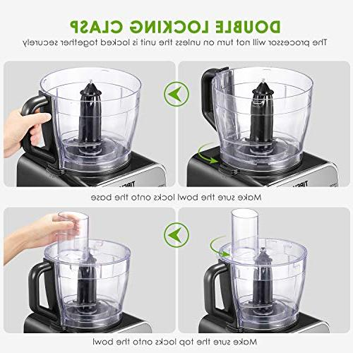 Food Processor 12-Cup, Food Main Functions with Chopper Dough Blade, Attachments, Powerful Processor,