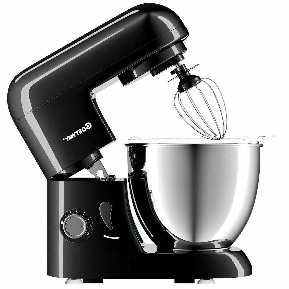 LargeElectric Food Stand Mixer 6 Speed 4.3Qt Tilt-Head Stainless Bowl