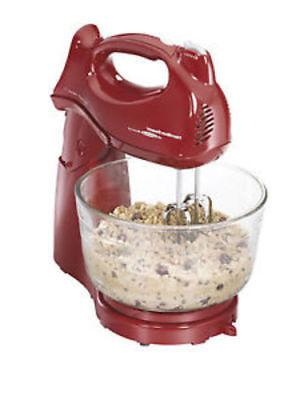 power deluxe 6 speed stand mixer red