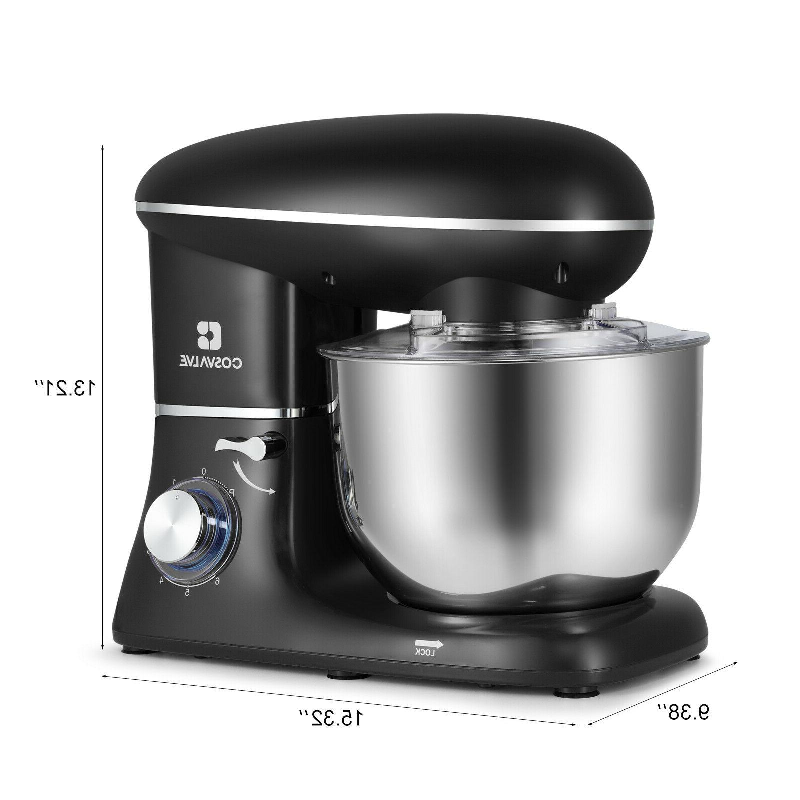 Pro Electric Mixer 6.2QT Speed Stainless Bowl Black