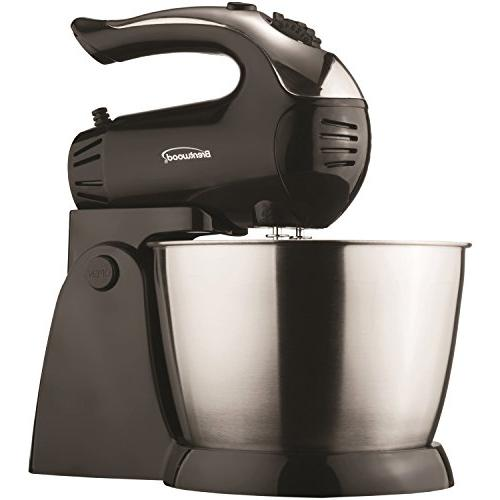 Brentwood SM-1153 5-Speed Stand Mixer Stainless Steel Bowl, 8.40In. 8.00In. Black