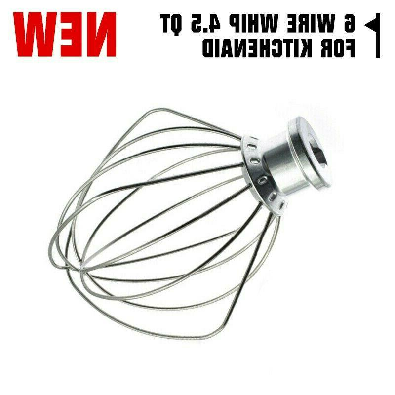 Stainless Steel 6 Wire Whip 4.5 QT Fit For KitchenAid Stand