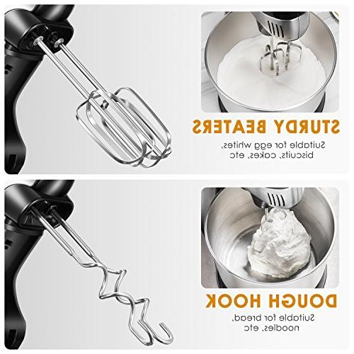 Stand Mixer Hand Mixer, Mixer Turbo Easy Eject Button, Dough and Steel Bowl,