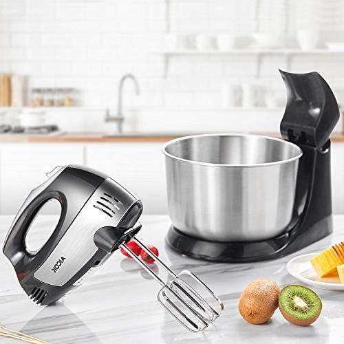 Stand Mixer 2-in-1 Hand Mixer, Mixer Turbo and Easy Dough and Stainless Steel Bowl,