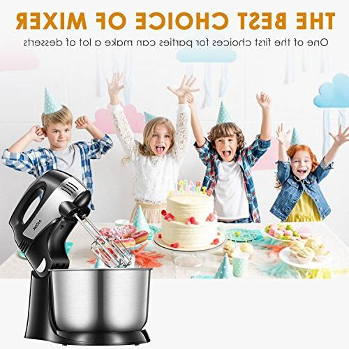 Stand Mixer Mixer, Turbo and Easy Button, Dough Hooks and Stainless Steel AICOK