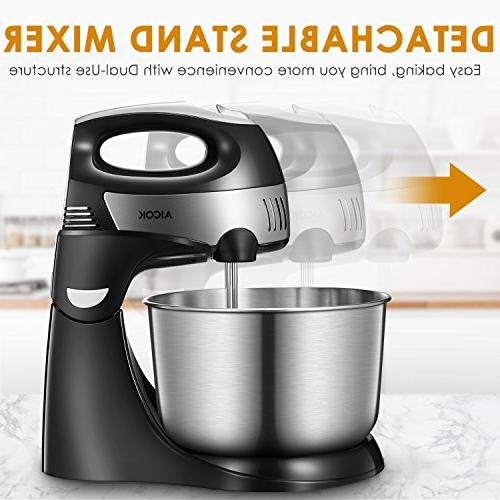Stand Mixer, Detachable Mixer Turbo Easy Button, Include Dough Hooks Stainless Steel Bowl, Black,