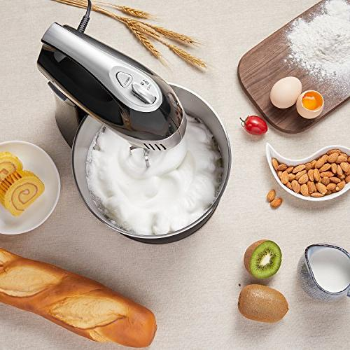 Stand Mixer Hand Mixer, Mixer Turbo Button, Include Sturdy Dough Hooks Steel Bowl, Black, AICOK