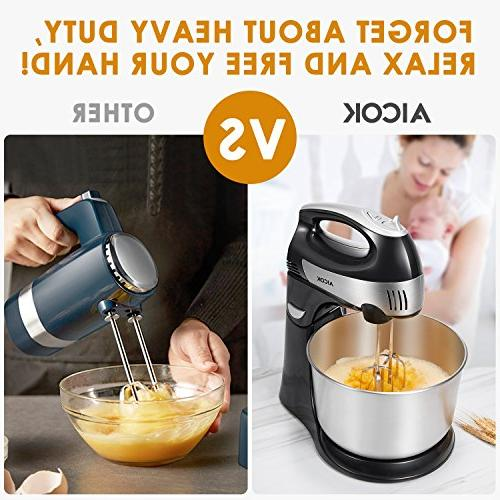 Stand Mixer Mixer, Detachable Mixer with Turbo Easy Eject Button, Dough Hooks Stainless Steel Bowl,