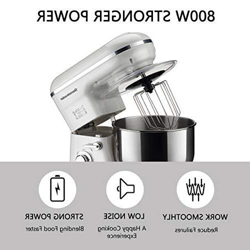 Homeleader Kitchen 800W/120V Food Mixer, Control, Food Whisk, Beater, Splash White