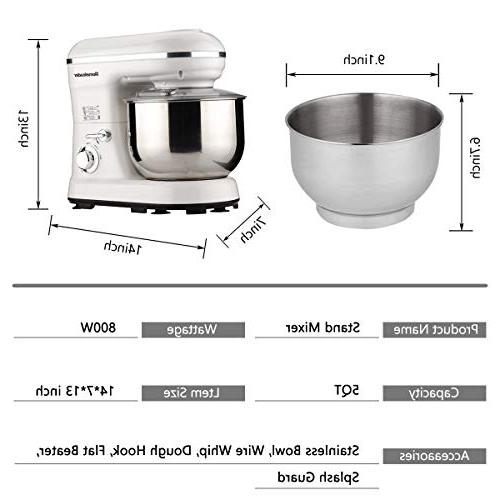 Homeleader Stand Kitchen Mixer, 800W/120V Food Control, Beater, Splash White