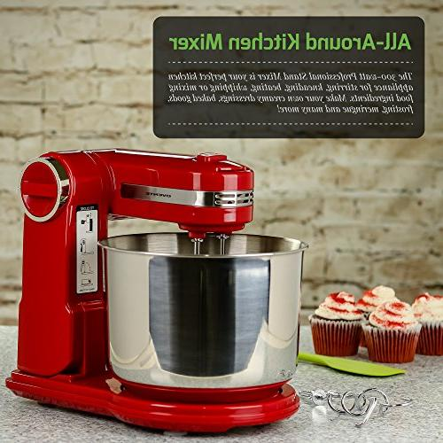 Ovente Professional Stand Mixer with Steel Mixing Bowl, Mixing and Storage