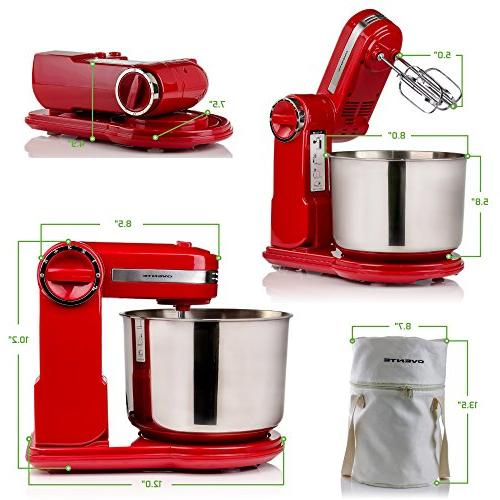 Ovente Stand Mixer Steel Mixing Mixing Speeds, Includes Hooks, and 300-Watts